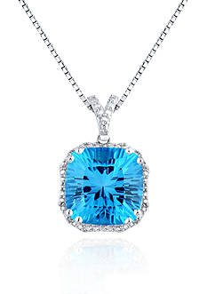 Belk & Co. Sterling Silver Swiss Blue Topaz and Diamond Pendant