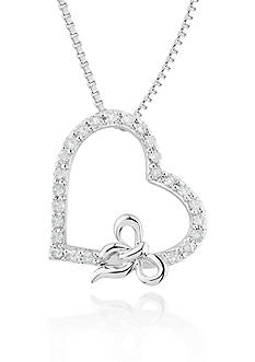 Belk & Co. Diamond Heart and Bow Pendant in Sterling Silver