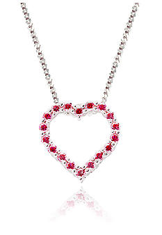 Belk & Co. Platinum Plated Sterling Silver Pink Cubic Zirconia Heart Pendant