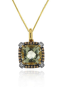 Belk & Co. 14k Yellow Gold Green Amethyst and Diamond Pendant