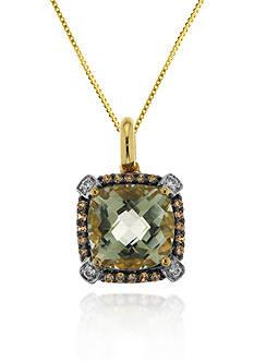Belk & Co. 14k Yellow Gold Green Amethyst and Diamond Pendant