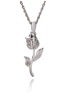 Belk & Co. Sterling Silver Diamond Rose Pendant