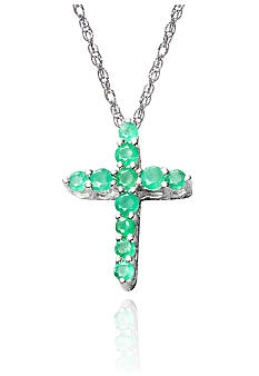 Belk & Co. Sterling Silver Emerald Cross Pendant