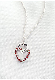 Belk & Co. Sterling Silver Garnet & Diamond Pendant