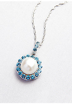 Belk & Co. Sterling Silver Freshwater Pearl and London Blue Topaz Pendant
