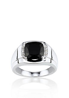 Belk & Co. Men's Black Oynx and Diamond Ring in Sterling Silver