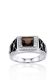 Belk & Co. Men's Smokey Quartz and Diamond Ring in Sterling Silver