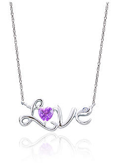 Belk & Co. Sterling Silver Amethyst & Diamond 'Love' Necklace
