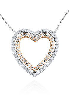 Belk & Co. Diamond Heart Pendant in 10k White and Rose Gold
