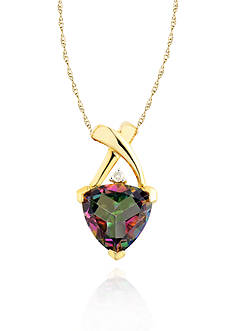 Belk & Co. 10k Yellow Gold Mystic Fire Topaz and Diamond Pendant