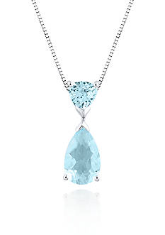 Belk & Co. 10k White Gold Aquamarine and White Topaz Pendant