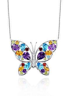 Belk & Co. Sterling Silver Multi Stone Butterfly Pendant