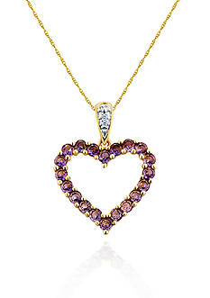 Belk & Co. 10k Yellow Gold Amethyst and Diamond Heart Pendant