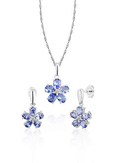 Belk & Co. Sterling Silver Tanzanite and Diamond Earring and Pendant Set