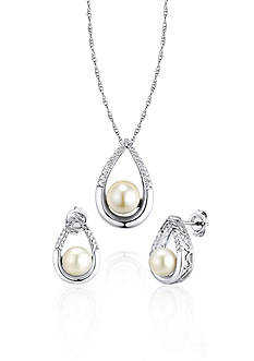 Belk & Co. Sterling Silver Freshwater Pearl and Diamond Earring and Pendant Set