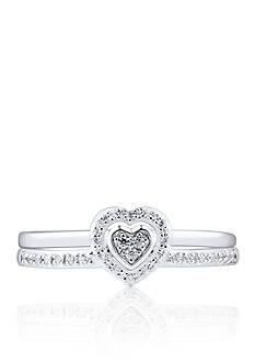 Belk & Co. Diamond Heart Ring Set in Sterling Silver