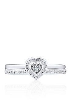 Belk & Co. Diamond Heart 2-Piece Ring Set in Sterling Silver