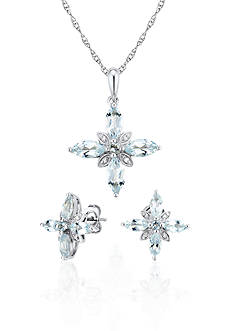 Belk & Co. Sterling Silver Aquamarine and Diamond Earring and Pendant Set