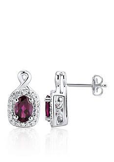 Belk & Co. Rhodolite Garnet and Diamond Earrings in Sterling Silver