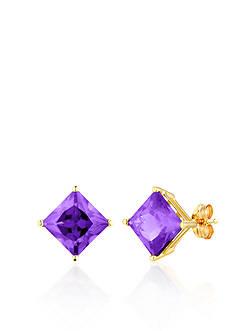 Belk & Co. 14k Yellow Gold Amethyst Stud Earrings