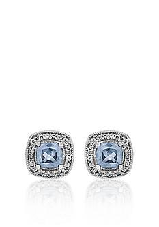 Belk & Co. Sterling Silver Aquamarine and Diamond Stud Earrings