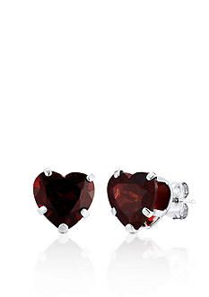 Belk & Co. 14k White Gold Mozambique Garnet Heart Earrings