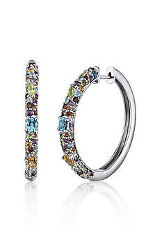 Belk & Co. Sterling Silver Multi Stone Hoop Earrings