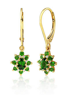Belk & Co. Chrome Diopside and Diamond Earrings in 10k Yellow Gold