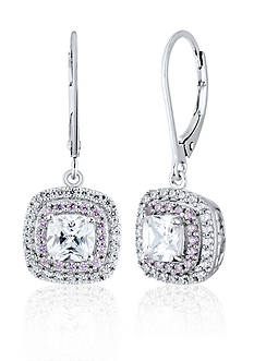 Belk & Co. Platinum Plated Sterling Silver White and Pink Cubic Zirconia Earrings