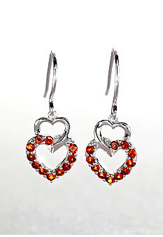 Belk & Co. Sterling Silver Garnet Heart Earrings