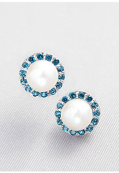 Belk & Co. Sterling Silver Freshwater Pearl and London Blue Topaz Earrings