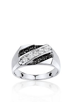 Belk & Co. Men's Black and White Diamond Ring in Sterling Silver