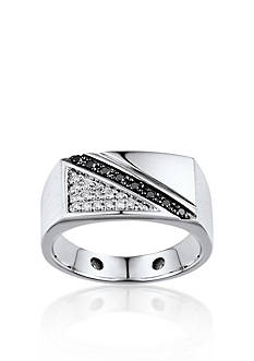 Belk & Co. Men's White and Black Diamond Ring in Sterling Silver