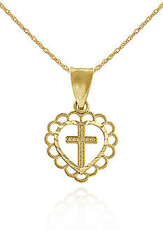 Belk & Co. 14K Gold Heart Cross Pendant