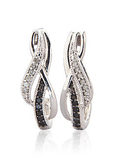 Belk & Co. 1/6 ct. t.w. Black and White Diamond Hoop Earring Set in 10k Gold
