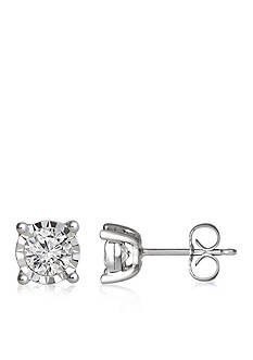 Belk & Co. Bella Mirage 1/2 ct. t.w. Diamond Illusion Stud Earrings in Sterling Silver