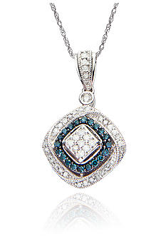 Belk & Co. 3/8 ct. t.w. Blue and White Diamond Pendant in Sterling Silver