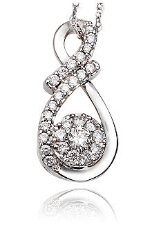 Belk & Co. 1/4 ct. t.w. Diamond Cluster Pendant in 10k White Gold