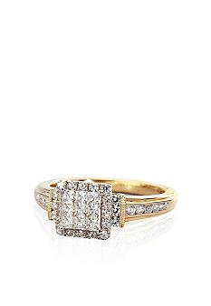 Belk co diamond cluster ring in 10k gold for Belk fine jewelry rings