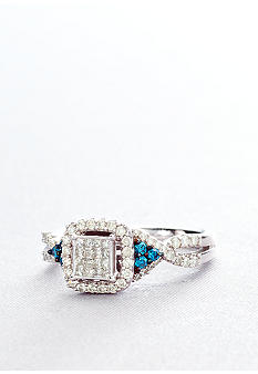 Belk & Co. Blue and White Diamond Ring in 10k White Gold