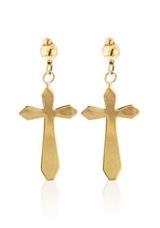 Belk & Co. 14K Gold Cross Earrings