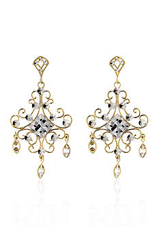 Belk & Co. 14k Two Tone Gold Chandelier Earrings