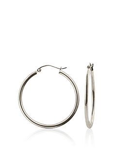 Belk & Co. 14k White Gold Round 35mm Hoop Earrings