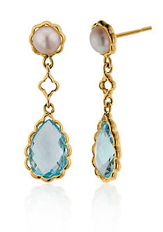 Belk & Co. 14k Yellow Gold Blue Topaz and Pearl Earrings