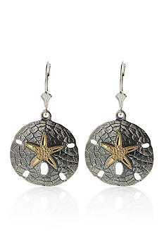 Belk & Co. Sterling Silver & 14k Yellow Gold Sand Dollar Earrings