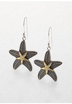 Belk & Co. Sterling Silver & 14K Yellow Gold Starfish Earrings