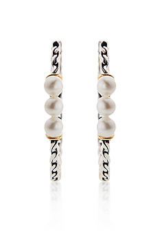 Belk & Co. Sterling Silver with 14K Gold Pearl Hoop Earrings