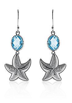 Belk & Co. Blue Topaz Starfish Earrings in Sterling Silver
