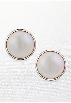Belk & Co. Sterling Silver Round Mabe Pearl Earrings