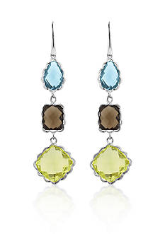 Belk & Co. Sterling Silver Blue Topaz, Smokey Quartz, and Green Quartz Earrings